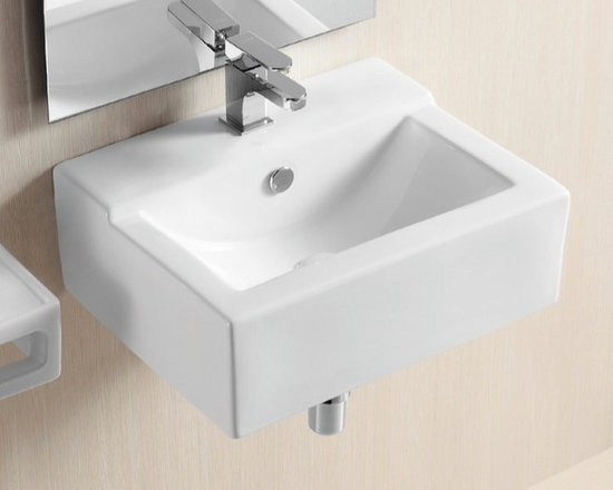 "Caracalla - Square Contemporary Wall Mounted or Vessel Ceramic Bathroom Sink - This simple and beautiful contemporary bathroom sink can be installed as either a wall mounted or above counter vessel sink. It is designed in Italy by Caracalla. It is made of white ceramic and includes overflow and a single faucet hole. Sink dimensions: 18.90"" (width), 7.09"" (height), 15.16"" (depth)"