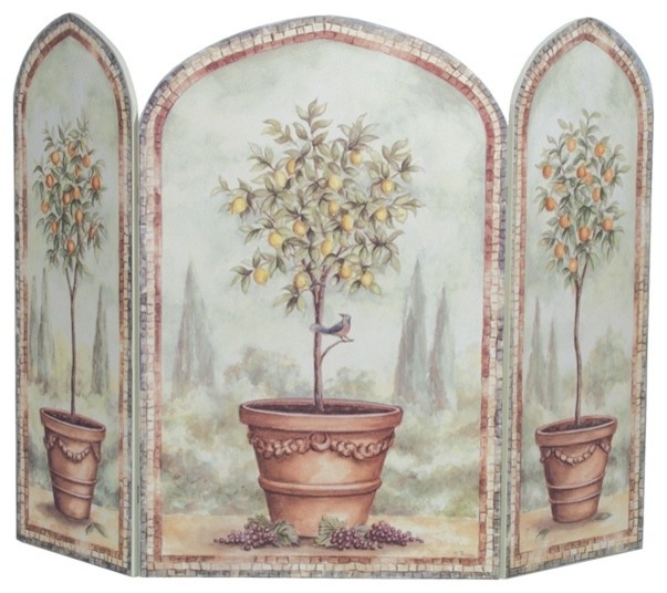 Orange and lemon trees 3 panel decorative fireplace screen Decorative fireplace screens