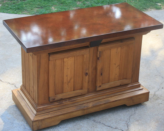 Outdoor Caster Table Bar - Locking caster bars with concrete countertops.  Used for a 6 person seating dry storage cabinet.