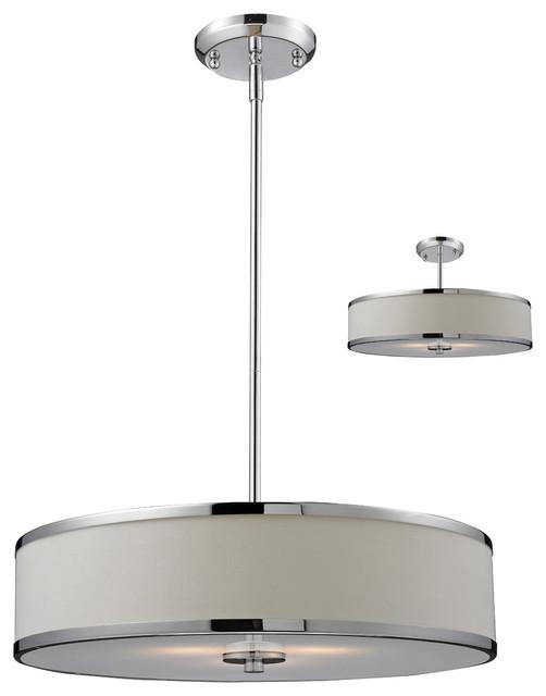 Z-Lite 164-20 Cameo 3 Light Pendants in White/Chrome transitional-pendant-lighting