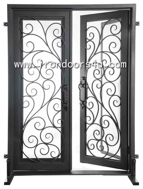 wrought iron entrance door traditional-front-doors