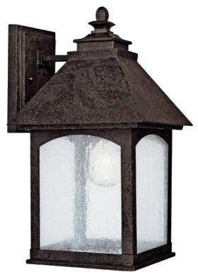 Lodge One Light Outdoor Wall Lantern in Rustic Iron modern-lighting