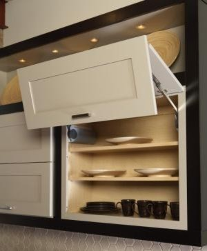 Vertical Hinge Wall Cabinets Contemporary Kitchen Cabinetry