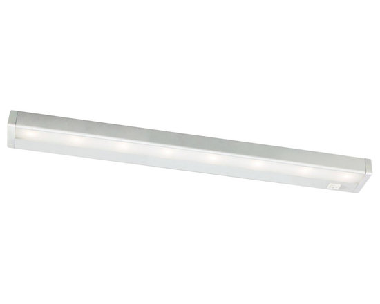 """WAC - WAC Satin Nickel LED 24"""" Wide Under Cabinet Light Bar - Bring out the best in your decor with this versatile LED light bar from W.A.C. Perfect for cabinets curios and kitchen counters this fixture contains energy efficient LED bulbs with a life of up to 50000 hours. It is also thermally efficient allowing use with heat and UV-sensitive artwork clothing and decor items. Satin Nickel finish. Includes eight LEDs. Output of 501 lumens. Energy efficient. 24"""" wide. 1"""" high. 2 3/4"""" deep.  Energy efficient LED under cabinet light.   Satin nickel finish.  Aluminum construction.  Acrylic lens.  From WAC Lighting.  Interconnection accessories available.  Dimmable with low voltage dimmer to 10%.  Includes eight LEDs (12.7 watts total).  Light output 501 lumens.  Comparable to a 50 watt incandescent bulb.  2900K color temperature.  24"""" wide.  1"""" high.  2 3/4"""" deep.  1"""" inner connector and mounting hardware included."""