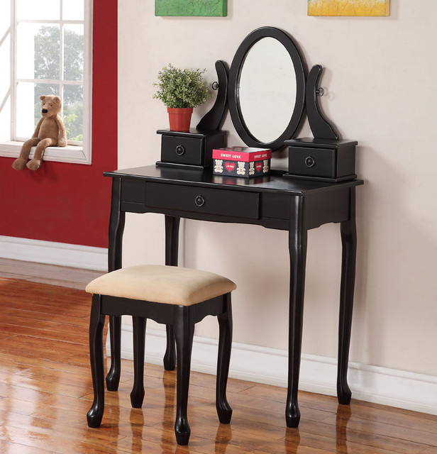 Black Vanity Table Traditional Makeup Mirrors Orange