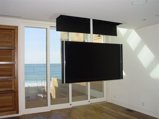 attic mount tv lift swivel contemporary bedroom. Black Bedroom Furniture Sets. Home Design Ideas