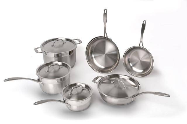 Berghoff Earth chef Professional Copper Clad 10-Piece Cookware Set contemporary-cookware-sets