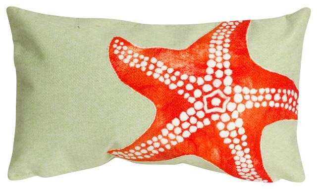 "Starfish Seafoam Print 12"" x 20"" Throw Pillow contemporary-decorative-pillows"