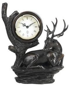 """10"""" Country / Rustic Resin Deer Clock traditional-clocks"""