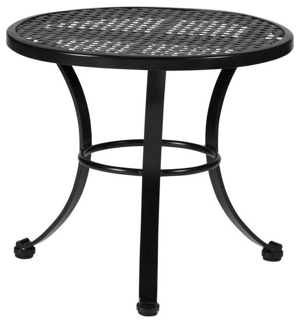 Verano wrought iron mesh end table outdoor side tables for Wrought iron side table