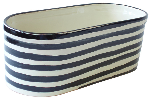 Striped Oval Planter contemporary-indoor-pots-and-planters