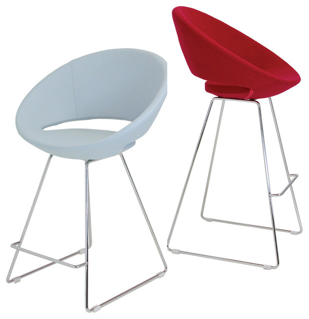 Crescent Wire Counter Stool, Chrome/Kent Leatherette - White contemporary-living-room-chairs
