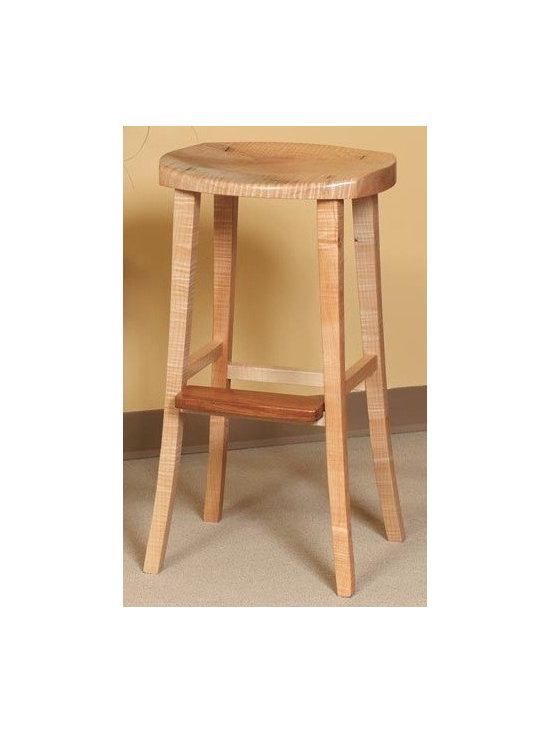 WOODEN BARSTOOL - Amish and Nordic influences combine with traditional, time honored craftsmanship producing one of the most comfortable seats you could ever sit upon. The wooden barstool is master-crafted with a luxurious scooped seat, highly grained solid hardwoods, and elegant saber legs. It's simple lines make it the perfect fit with any style.