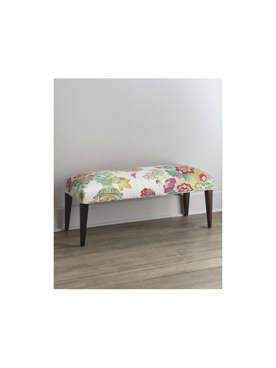 "Haute House - Haute House ""Lily"" Bench - Fabulous florals mingle upon this inviting bench. Sleek tapered legs adds to the contemporary appeal. Exclusively ours. Handcrafted of alder wood; legs have dark walnut finish. Cotton upholstery. 42""W x 15""D x 19""T. Made in the USA. Boxed weight,..."