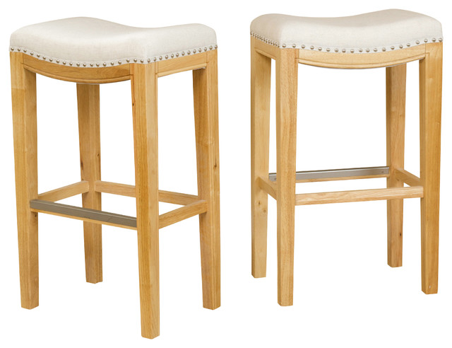 Jaeden Backless Stools Set Of 2 Beige Fabric Bar Height