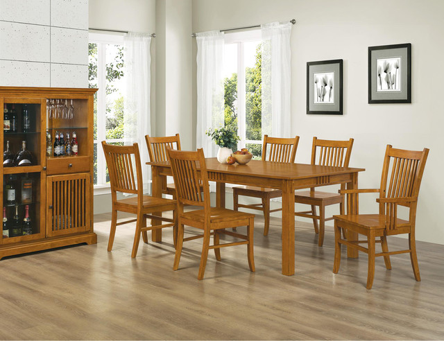dining 7 pc country mission medium brown wood dining room set table