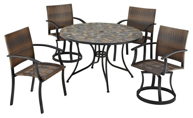 Stone Harbor 5PC Dining Set with Newport Chai Contemporary Patio Furnitur