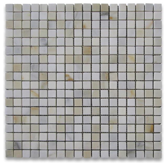 Calacatta gold marble square mosaic tile 5 8x5 8 honed for Vinyl square floor tiles