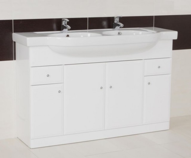 Arm Gloss White Double Bowl Vanity Unit Contemporary Bathroom Vanities An