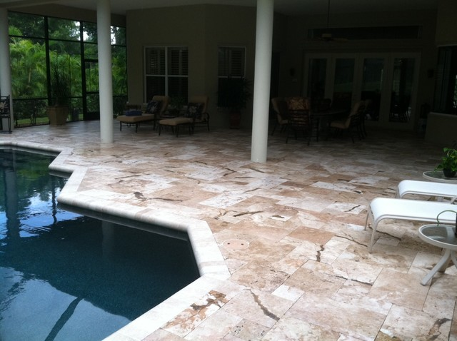Travertine Pavers - French Pattern Colorado Travertine - Tumbled Travertine Pave tropical-hot-tub-and-pool-supplies
