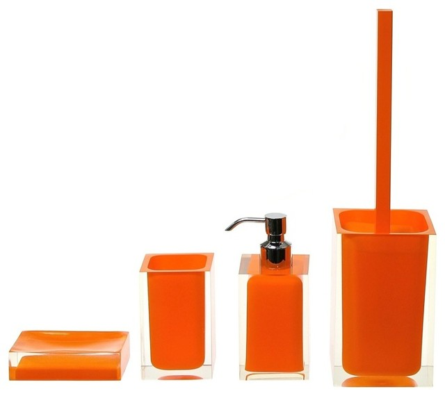 Orange 4 piece bathroom accessory set contemporary for Contemporary bathroom accessories