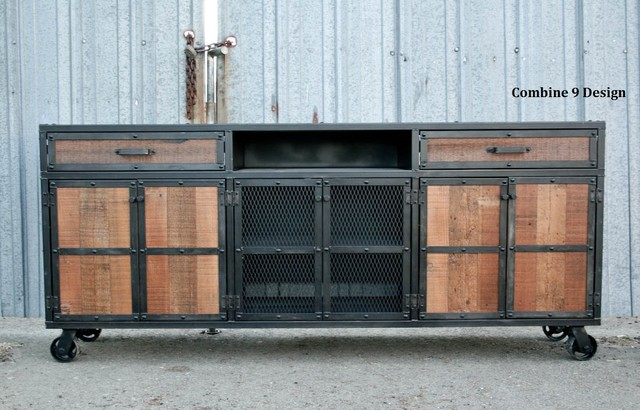 Vintage Industrial Style Media Console/Credenza. Reclaimed Wood. Steel. Custom