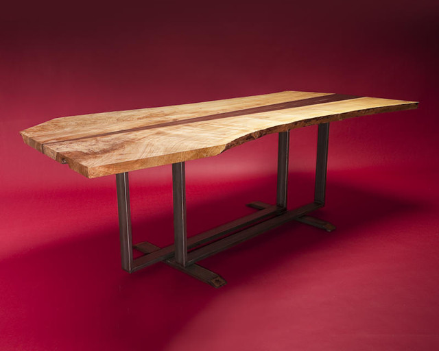 Silver Maple and Black Walnut Executive Desk by Cherrywood Studio contemporary-dining-tables