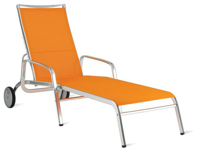 Lucca Chaise Lounge, Triple Twist, Orange - contemporary - outdoor