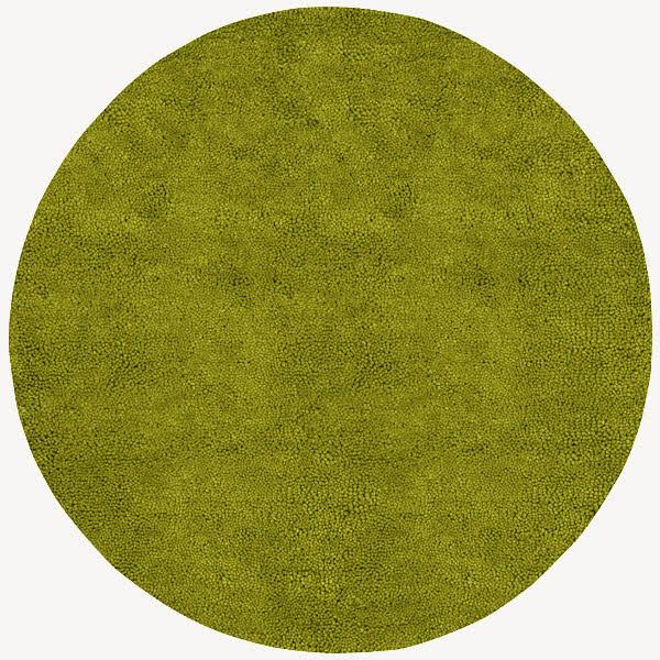 Aros Lime Green Round Shag Rug Contemporary Outdoor