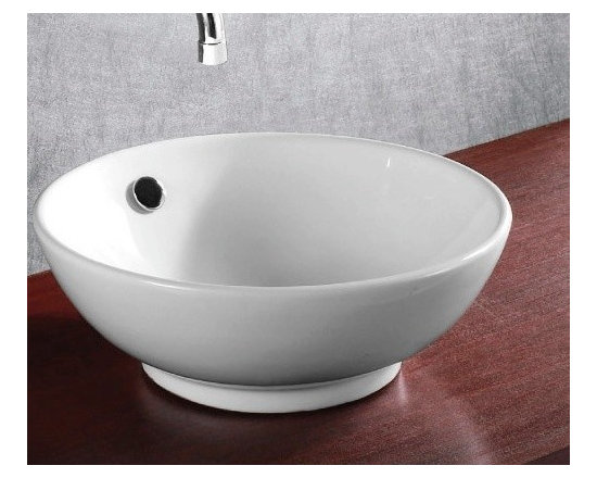 "Caracalla - Beautiful Modern Round Ceramic Vessel Bathroom Sink - Beautiful above counter vessel bathroom sink made of high quality white ceramic. Designed in Italy by Caracalla. Circular modern designed sink includes overflow but has no faucet holes. Sink dimensions: 16.14"" (width), 7.87"" (height), 16.14"" (depth)"