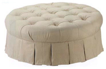 Round Tufted Ottoman traditional-ottomans-and-cubes
