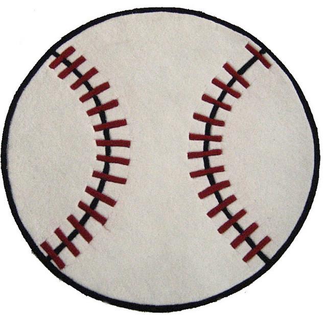 Hand tufted baseball shaped rug 3 round contemporary
