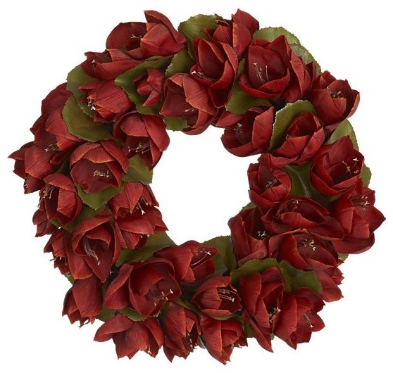 Amaryllis 18 wreath traditional holiday outdoor for Amaryllis christmas decoration