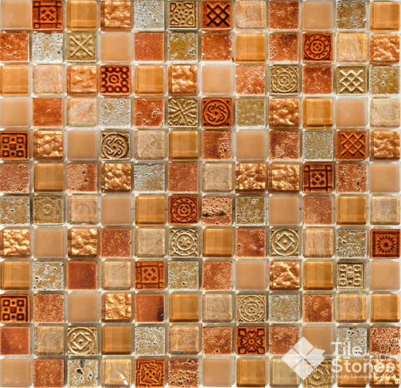 Orange Marble Tile : Mayan terra mosaic tile traditional