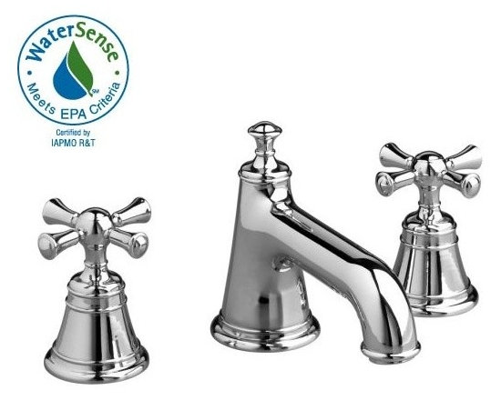 Hatteras Low Spout Widespread Lavatory Set -Cross - Cast brass spout and side valves