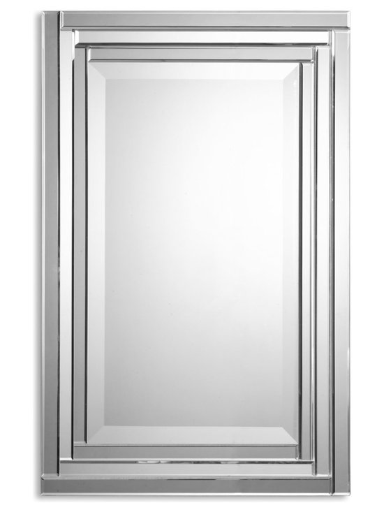 Uttermost - Alanna Frameless Vanity Mirror - No frame restrains this stately mirror, letting it float on your wall, reflecting prisms of light. You may even have visions of Versailles' Hall of Mirrors — and start speaking French! Best of all, it can be hung either horizontally or vertically.