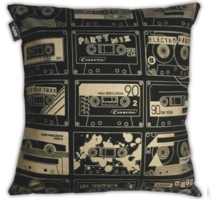 C-60 Cushion, Black/Gold eclectic pillows