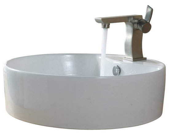 Kraus - Kraus C-KCV-142-14601BN White Round Ceramic Sink and Sonus Basin Faucet - Add a touch of elegance to your bathroom with a ceramic sink combo from Kraus