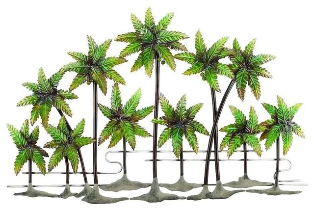 Palm Island Metal Palm Wall Decor traditional-artwork