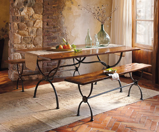 Cimarron Walnut Iron Dining Collection Traditional Furniture By Napa Style