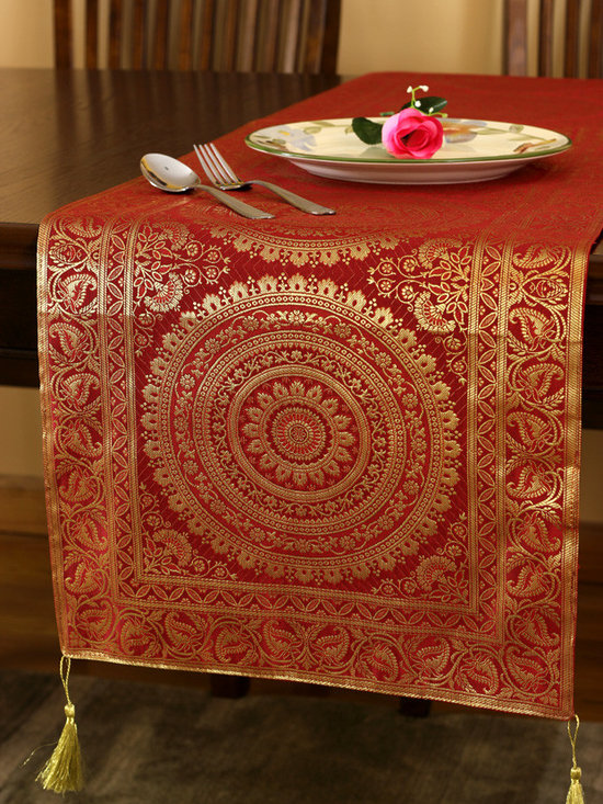 """Elegant Table Runners - Stunning """"Exotic Oriental Table Runner"""" Golden Scarlet color. Hand crafted in India. Red Gold"""