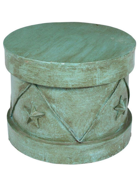 Decorative Blue Circus Stool - Dimensions 20.0ʺW × 20.0ʺD × 15.5ʺH