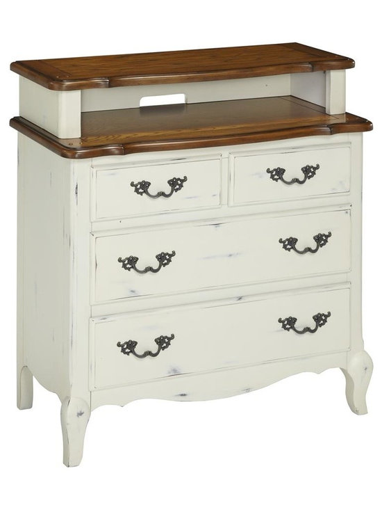 HomeStyles - Oak and Rubbed White Media Chest - The media chest is constructed of hardwood solids, engineered wood and oak veneers in a distressed oak and heavily rubbed white finish. The distressed oak features several distressing techniques such as worm holes, fly specking, and small indentations. Features include four storage drawers (top two drawers are split drawers), top drawers are felt-lined, and cable accessibility through hutch for all your media needs. Design features include shaped carved proud legs, raised corner peg accents, and detailed brass hardware. Assembly required. 36 in. W x 18.5 in. D x 38 in. H