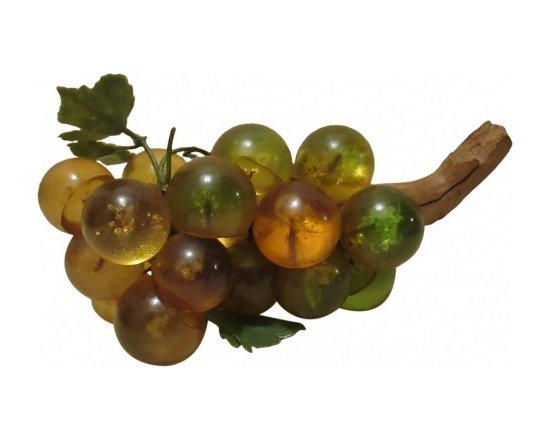 Amber Acrylic Grapes - Nice cluster of the popular acrylic grapes in a rich amber color.  Good coffee table accent or just lay them in a nice wood bowl.