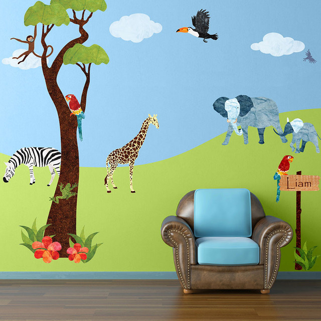 Jungle Wall Decor Stickers : Jungle safari wall stickers contemporary decals
