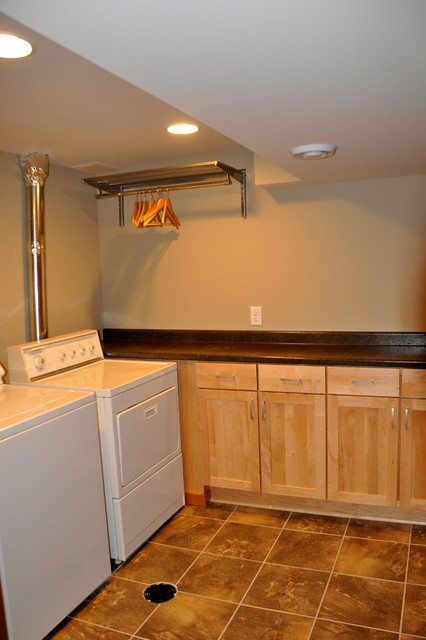 Modern basement remodel transitional laundry room Basement laundry room remodel