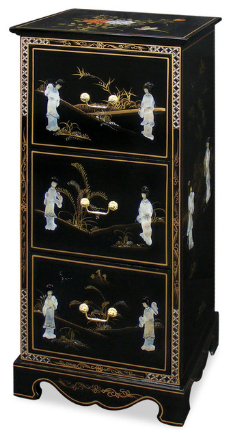 Black lacquer mother of pearl file cabinet asian for Chinese black lacquer furniture