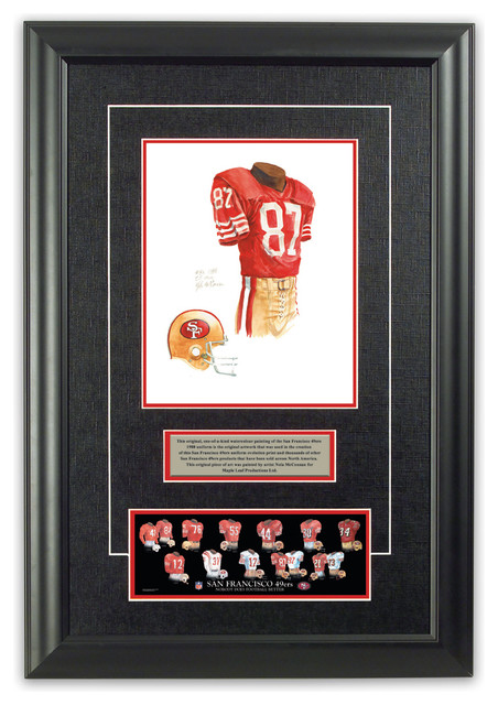 Original art of the NFL 1988 San Francisco 49ers uniform traditional-game-room-wall-art-and-signs