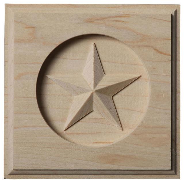"4 1/4""W x 4 1/4""H x 3/4""P Austin Star Rosette, Alder traditional-accessories-and-decor"