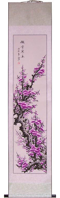 """71"""" Purple Blossom Branch Chinese Scroll Painting asian-artwork"""